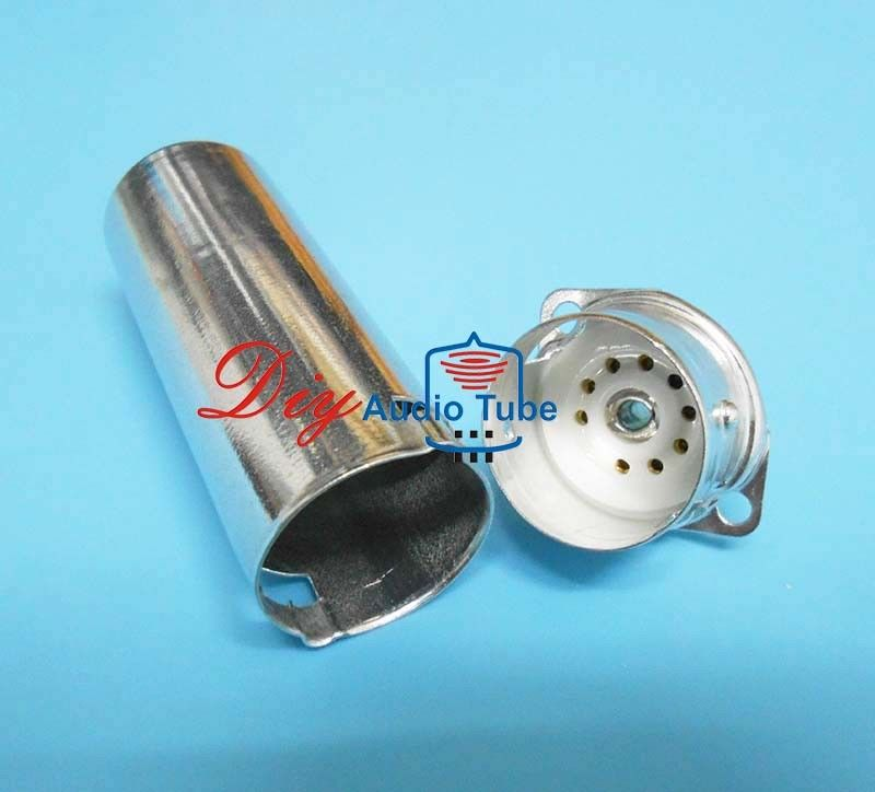 9 Pin Vacuum Tube Sockets Silver Color 70mm Shield Length For EL84 6P14 6BQ5